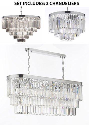 - Set of 3 - Palladium Empress Crystal Glass Fringe 3-Tier Chandelier & 1 Retro Palladium Crystal Glass Fringe Chandelier H25