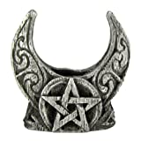 Pewter Mini Crescent Moon Pentacle Chime Candle Holder