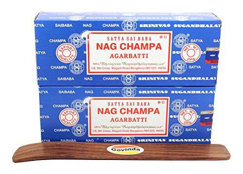 Govinda Satya Bangalore (BNG) Nag Champa Argarbatti 250 Grams (Pack of 2) Incense Holder by Govinda