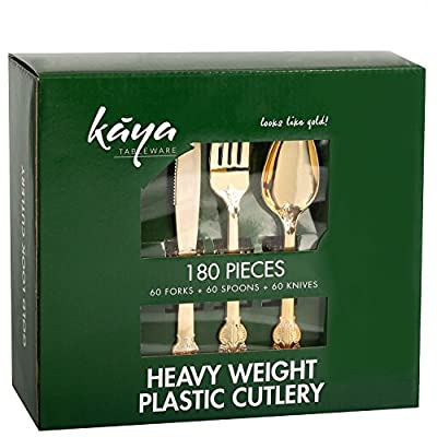 Kaya Collection - Disposable Metallic Plastic Shiny Gold Cutlery 60 Gold Forks, 60 Gold Knives and 60 Gold Spoons Baroque Design (180 Pc)