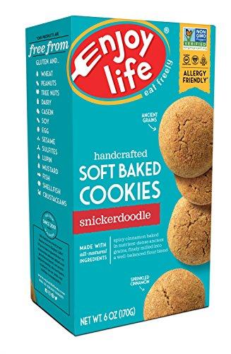 Enjoy Life Soft Baked Cookies, Soy free, Nut free, Gluten free, Dairy free, Non GMO, Vegan, Snickerdoodle, 1 Box