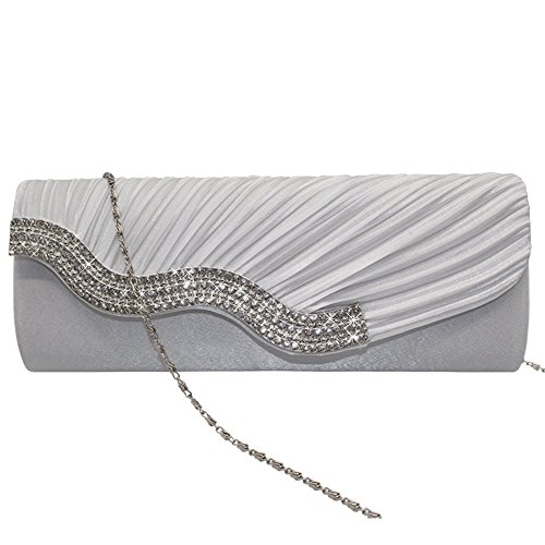 White Hand Crystal Shoulder Party Handbag Wedding Clutch Purse Purple Satin Evening Bag Cckuu UCzw7q8