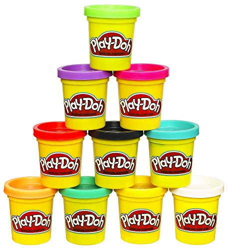 Paquete de 10 compuestos de modelado Play-Doh, no tóxico, colores surtidos, latas de 2 onzas, edades de 2 años en adelante (exclusivo de Amazon)