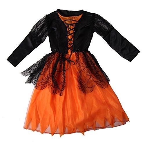 Girl Basic Black and Orange Witch Dress Costume Size 6/8