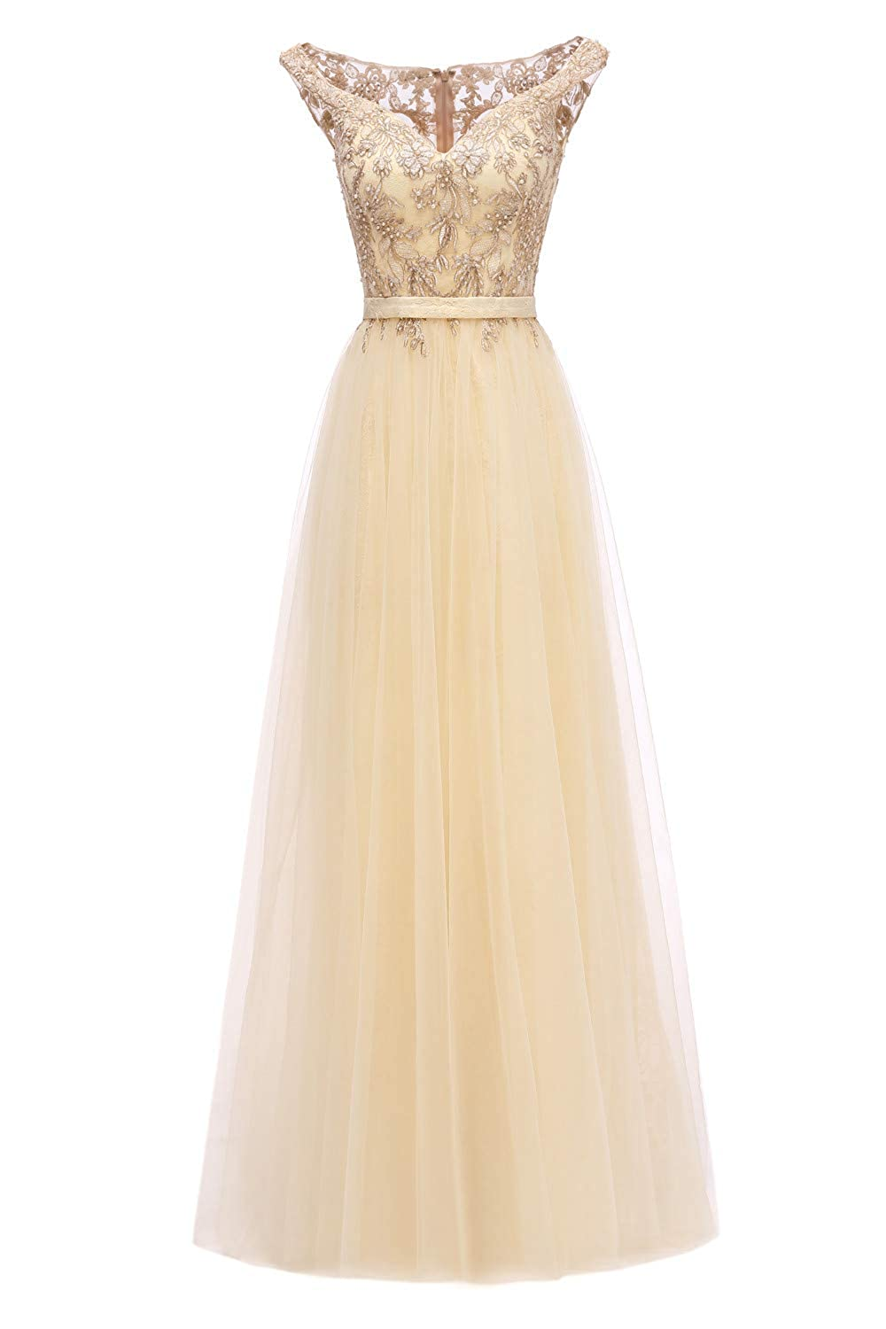 Champagne Huifany Womens VNeck Cap Sleeve Lace Prom Bridesmaid Dresses Long Formal Evening Ball Gowns