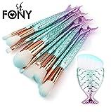 Gocheaper 10/11 PCS Mermaid Makeup Brush Set,Foundation Eyebrow Eyeliner Blush Cosmetic Concealer Brush Kit (11 Multicolor-B)