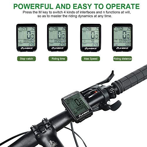 SKYSPER Cuentakilómetros para Bicicleta, Computadora de Bicicleta Inalámbrica IP66 Impermeable Velocímetro Odómetro con Pantalla LCD de Retroiluminación Multifuncional para Ciclismo