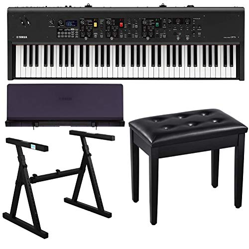 Yamaha CP73 73-Key Stage Piano Bundle with Heavy Duty Z-Stand, Black Padded Piano Bench with Storage and Music Rest