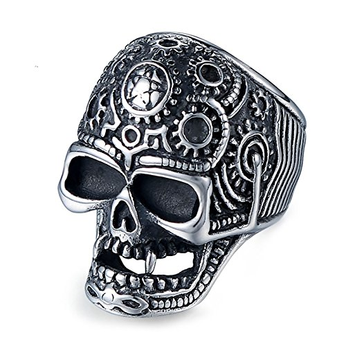 Adisaer 35MM Men's 316L Stainless Steel Ring Gothic Gear Skull Vintage Silver Vantage Ring with Gift Bag, 11