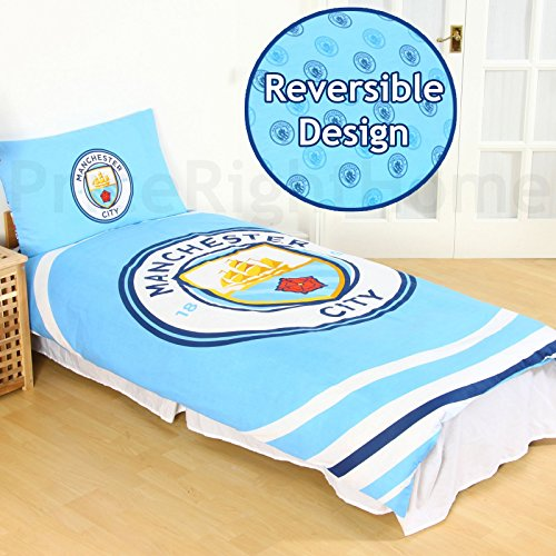 Manchester City Fc Pulse Single Duvet Cover And Pillowcase Set - Manchester Bedroom Furniture