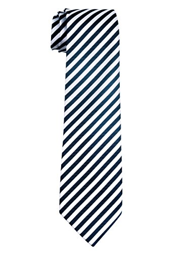 Retreez Striped Woven Microfiber Boy's Tie (8-10 years) - Navy Blue and White Stripe (Navy Boys Tie Stripe)