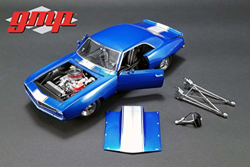 1969 Chevrolet Camaro 1320 Drag Kings Metallic Blue with White Stripe Limited Edition to 804 pieces Worldwide 1/18 Diecast Model Car by GMP 18876
