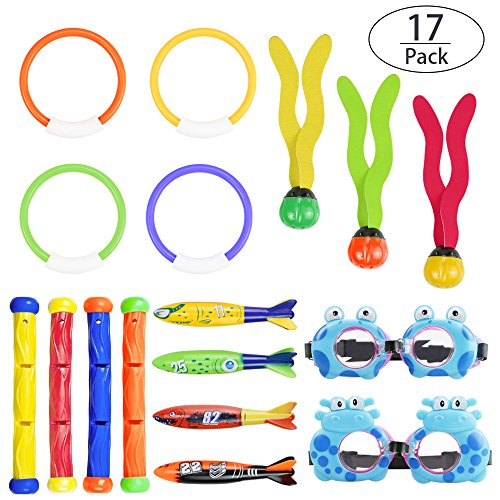 Glass Under Team Logo (Philonext 17 Pcs Diving Toy Set Underwater Swimming/Diving Pool Toy Rings Pool Use, Diving Rings,Diving Sticks, Torpedo Bandits, Water Grass Set Bundle & Glasses Summer Pool Gift Set Bundle)