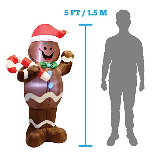 5ft Self-Inflatable Gingerbread Man with Candy Canes Perfect for Waving Blow Up Yard Decoration, Indoor Outdoor Yard Garden Christmas Decoration and Christmas Party Favor Decoration by Joiedomi by Joiedomi (Image #5)