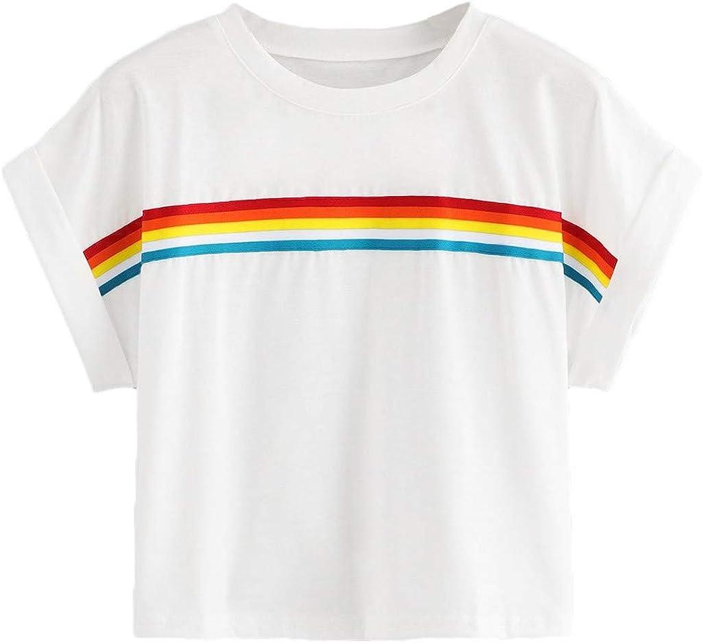 Camiseta de manga corta para mujer de Mongger con estampado de arcoíris de siete colores para verano, cuello redondo, para niña: Amazon.es: Ropa y accesorios