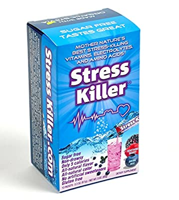 StressKiller Soothing Berry drink mix: All-natural, Sugar-free, Non-drowsy Stress & Anxiety Relief. (10 stick packs)