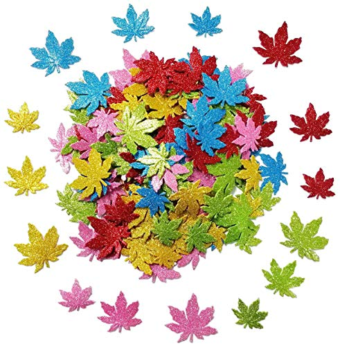 150 Pcs Foam Stickers Shapes Glitter Stickers Self Adhesive,Maple Leaves Shapes for Kid's Arts Craft Supplies Greeting Cards Home Decoration,Maple Leaves Gift Tags Sign Fall Wedding Party Favors Tags