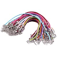 BIHRTC Pack of 50 Mixed Color DIY Leather Plaited Cords Ropes with Lobster Clasps Extended Chain for Charms Bracelets Jewelry Making
