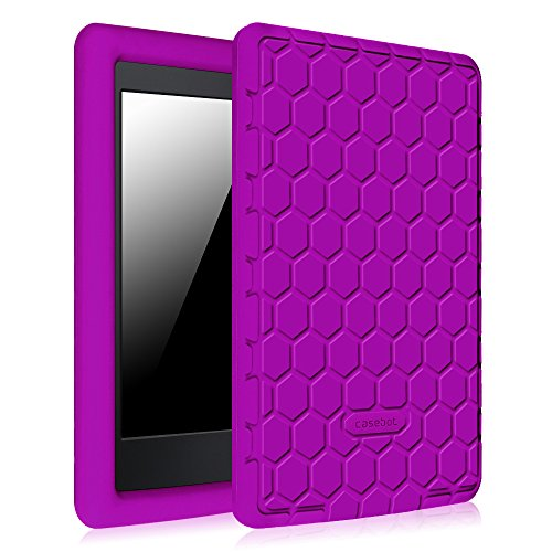 Fintie Silicone Case for Kindle Paperwhite - [Honey Comb] Light Weight [Anti Slip] Shock Proof Cover [Kids Friendly] for Amazon Kindle Paperwhite (Fits All Versions: 2012 2013 2014 and 2015), Purple