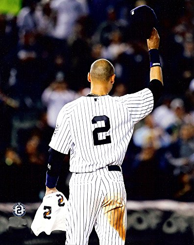 New York Yankees Derek Jeter Tip Of The Cap. The Captain Tips His Cap One Last Time At Yankee Stadium 8x10 Photograph Picture. (Tip)