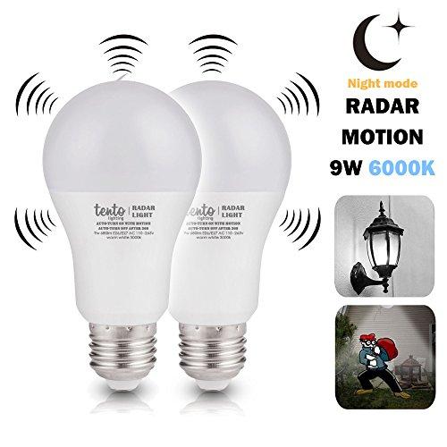 Motion Sensor Night Light Bulb Bright White Daylight Light 6000k 9 Watts 60w Equivalent Built-in Radar Sensor Pack of 2 Radar Motion Sensor Light Bulbs - Night Sensor