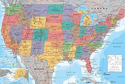 La Cartina Geografica Degli Stati Uniti.1art1 Carte Carta Geografica Delle Stati Uniti In Inglese Poster Stampa 91 X 61cm Amazon It Casa E Cucina