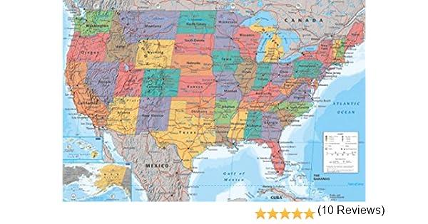 1art1 Mapas - Mapa Geográfico De Los Estados Unidos De América, En Inglés Póster (91 x 61cm): Amazon.es: Hogar