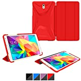 rooCASE Samsung Galaxy Tab S 8.4 Case Optigon 3D [Red] Lightweight Slim Shell 8.4-Inch Tri Fold Stand Smart Cover