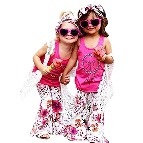 Putars Baby Clothing 2PCS Baby Girls' Cotton Floral Sleeveless Tops+Flowers Pants Set 12 Months-5 Years old from Putars Baby Clothing