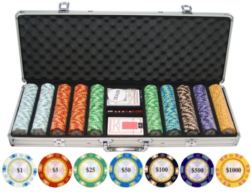 500 Piece Monte Carlo Clay Poker Chips Set by JP Commerce