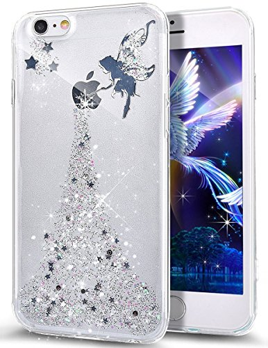 Price comparison product image iPhone 8 Plus Case,iPhone 7 Plus Bling Glitter TPU Case,PHEZEN Fairy Angel Girl Pattern Shiny Glitter Flexible Soft Rubber Gel Clear TPU Silicone Back Case for iPhone 8 Plus /iPhone 7 Plus (Silver)