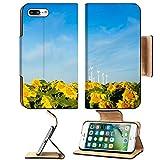 Liili Premium Apple iPhone 7 Plus Flip Pu Leather Wallet Case Wind turbines over a beautiful sunflowers field in Limon Colorado iPhone7 Plus Image ID 21591016
