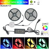 LEHOU Bluetooth LED Strip Light, 16.4FTx2 Flexible RGB Strip Light Kit,5050 SMD 300Leds Rope Light for iOS/Android App Controlled for Festival Decoration (2x5M Bluetooth Light Strip)