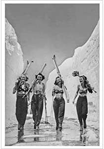 Vintage Ski World Babes, Sun, Snow and Skiing, 1940s Ski Poster Lodge Decor Wall Art, 20 x 30 in - Black & White. Available in Sepia