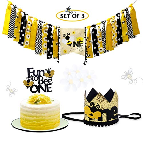 Vansolinne Bumble Bee First Birthday Party Decoration Kits, One Highchair Banner, Fun to Bee One Cake Topper and Crown Birthday Hat, set of 3