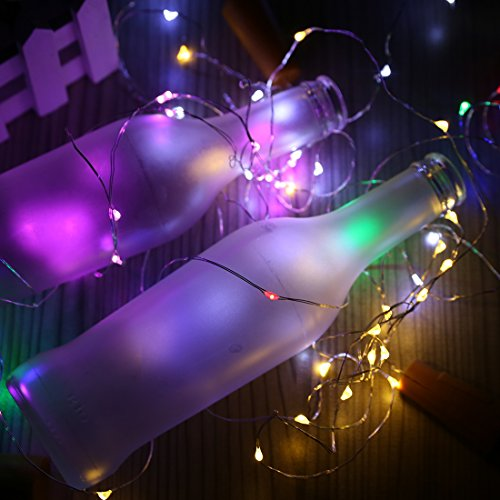 A-SZCXTOP Solar LED Bottle Light Wine Bottle Lights String LED Lights 42 Inches Cooper Wire 10 LED Light for Wedding Party HalloweenConcert Festival Christmas Tree Decoration. (3pcs integrated color) (Creative Halloween Date Ideas)