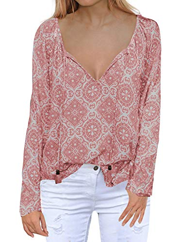 MIHOLL Women's Casual Blouse V Neck Print Chiffon Long Sleeve Loose Tops Shirts (Large, Pink) ()