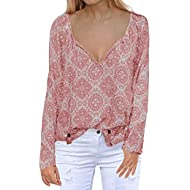 Women's Casual Tops Long Sleeve V Neck Printed Chiffon Blouse Loose Shirts