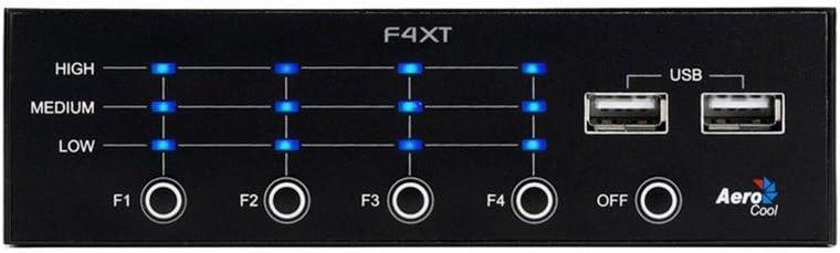 Aerocool F4Xt Panel Frontal Controlador De Ventiladores 4 Canales Led