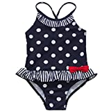 iiniim Little Girls Polka Dots Swimwear Kids One-Piece Beachwear Holiday Swimming Costume 5-6 Years