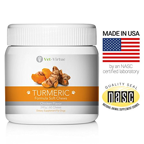 Turmeric for Dogs- Organic Turmeric with Curcumin, Chicken Flavored Soft Chews with Collagen and Bioprene to Ensure the Highest Absorption of this Natural Antioxidant by your Dog