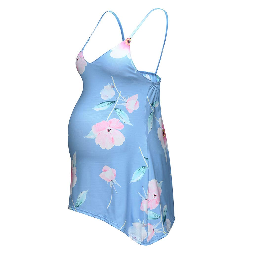 Sunyastor Women's Maternity Sleeveless Tanks V Neck Floral Printed Tops Breastfeeding Sundress Pregnancy Tee Blouse S-2XL Blue by Sunyastor Maternity Clothes (Image #3)