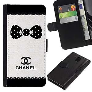 LASTONE PHONE CASE / Lujo Billetera de Cuero Caso del tirón Titular de la tarjeta Flip Carcasa Funda para Samsung Galaxy Note 3 III N9000 N9002 N9005 / Dot Brand White Black Pattern