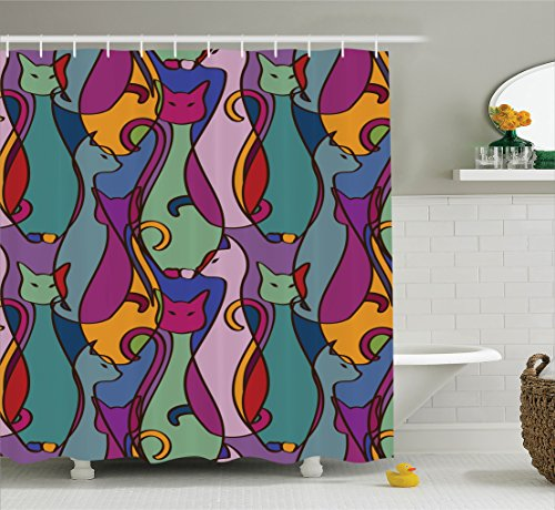 Ambesonne Cat Lover Decor Collection, Pattern of Tribal Colorful African Cats Domestic Ethnic Geometric Design, Polyester Fabric Bathroom Shower Curtain Set with Hooks, Purple Teal Green - Cat Geometric
