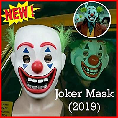 Joker Mask Arthur Fleck Masks Cosplay DC Movie Clown Halloween Mask for Kids Party Costume Props White: Clothing