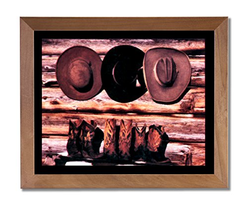 Cowboy Boot Frame (Old Cowboy Boots And Hats Western Rodeo Wall Picture Honey Framed Art)