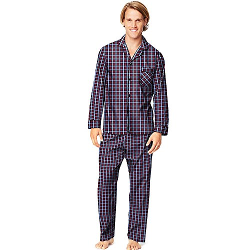 Hanes Men's Two Button Wasit Woven Pajamas with Button-Down Shirt_Brgndy ()