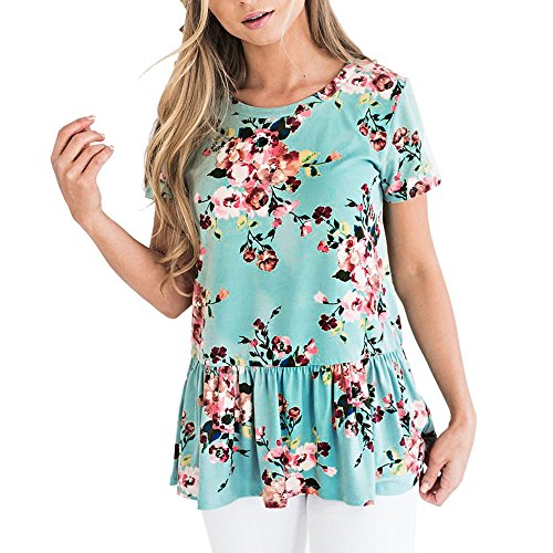 Women's Floral Stripe Bow Tunic Ruffled Sleeve Knotted Hem T-Shirts Casual Top Blouses - Buckle Knotted