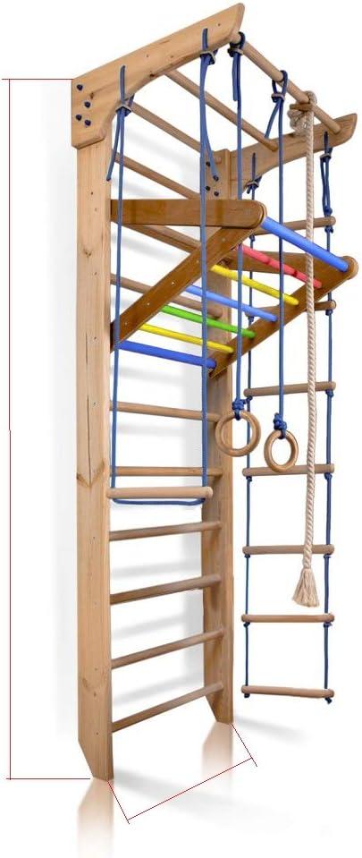 SportBaby Barras de Pared para niños, Barra de Madera, Escalera Sueca de Madera, para niños de 4 a 240 – Certificado de Uso Seguro, Gimnasio en casa, Gimnasio, Escalada de niños, Interior