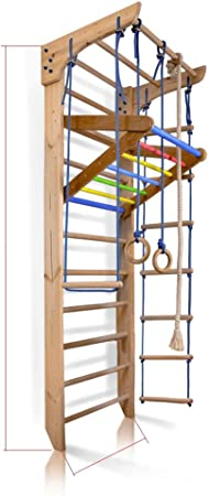 SportBaby Barras de Pared para niños, Barra de Madera, Escalera Sueca de Madera, para niños de